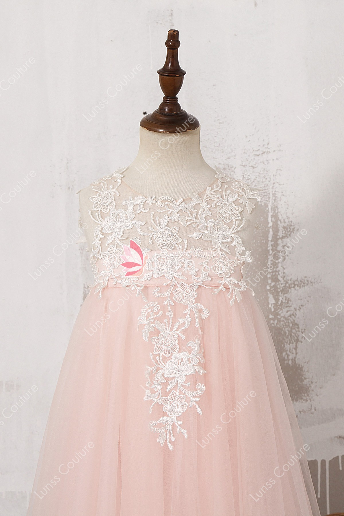 Designer Illusion Ivory Lace Blush Pink Tulle Ankle Length Flower