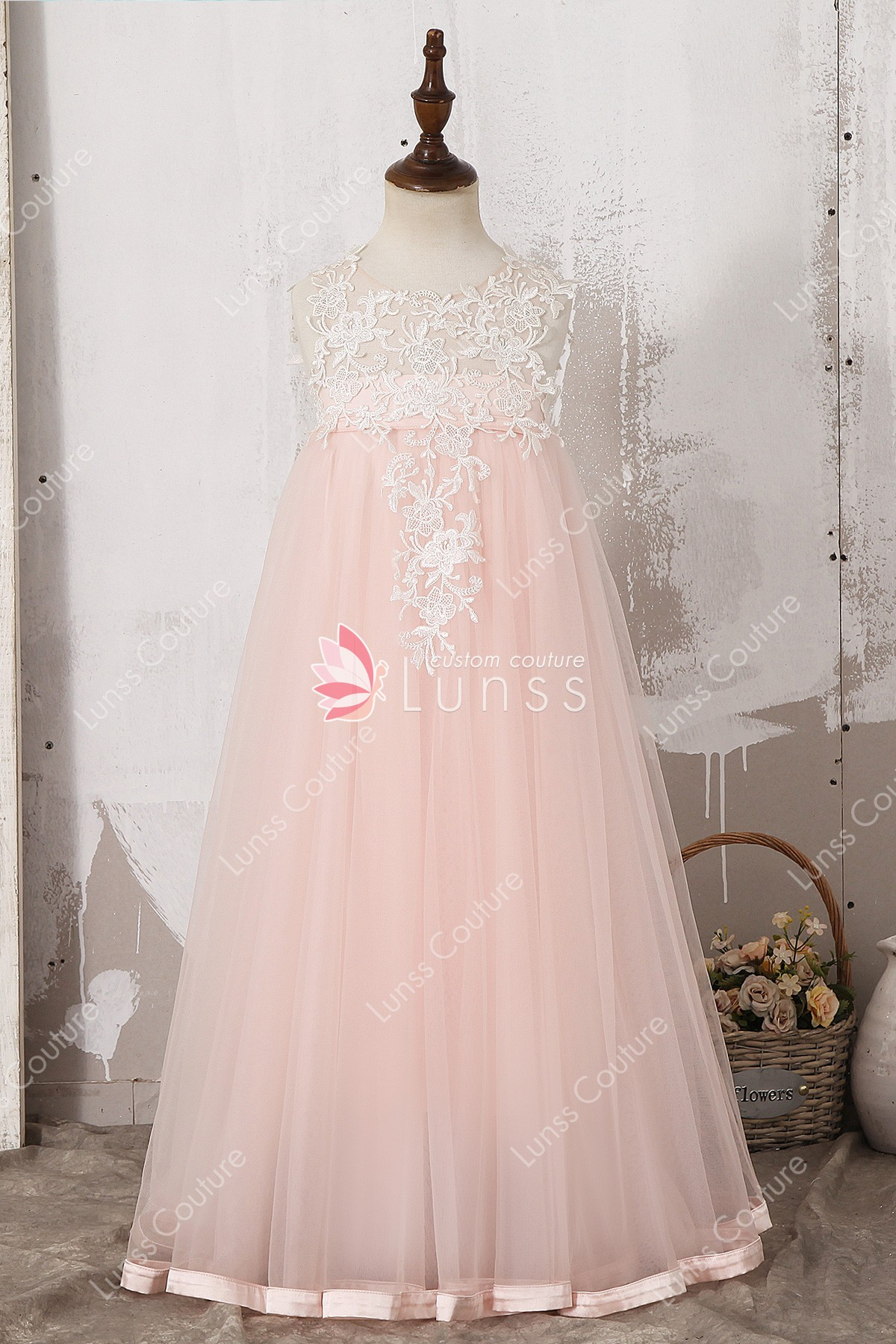 cba8bf855fb Designer Illusion Ivory Lace Blush Pink Tulle Ankle Length Flower ...