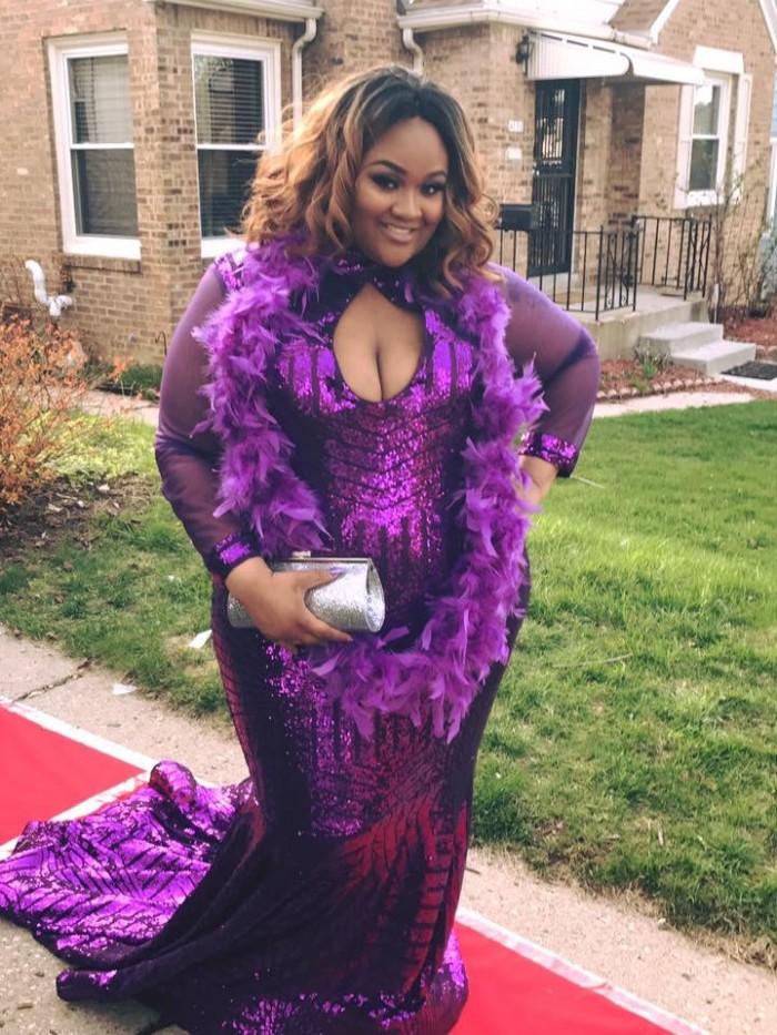 Plus Size Purple Sequin Pattern Mermaid Prom Dress Custom Design