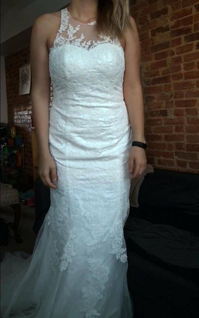 High Neck Flowy A-line Bridal Dress with Keyhole Back - Custom ...