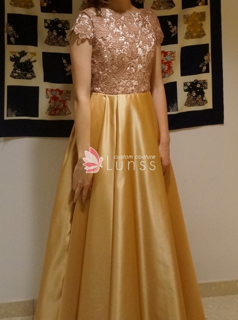 gorgeous gold lace and satin prom dress