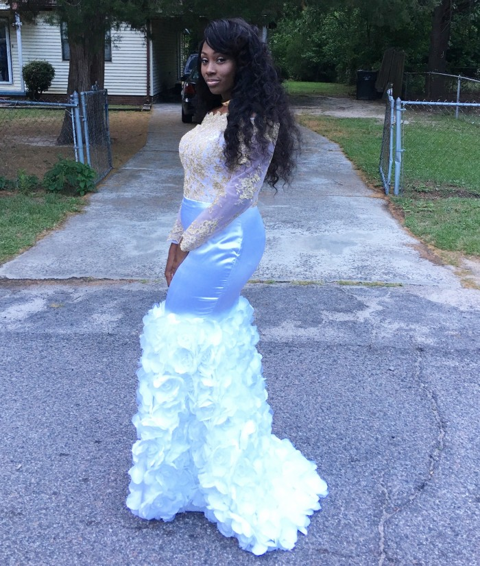 Prom dress with illusion off the shoulder gold lace top and fitted awesome floral prom dress mightylinksfo