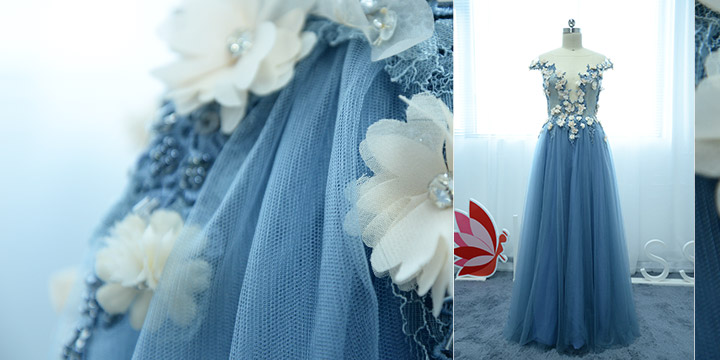 3D floral tulle prom dress