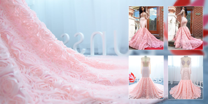 3D rose pearl bead illusion prom dress