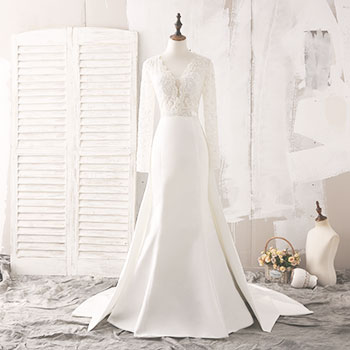 Design your own wedding dress and evening prom formal dress online ivory lace and satin long sleeve wedding dress junglespirit Image collections